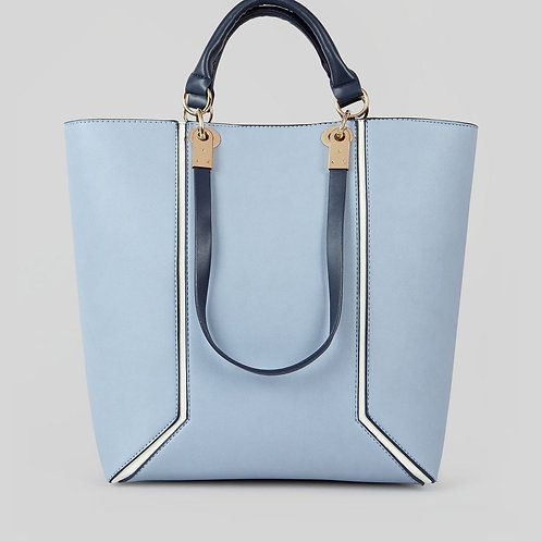 Blue Contrast Trim Tote Bag - New Look