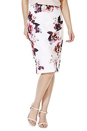 F&F Rose Print Scuba Pencil Skirt