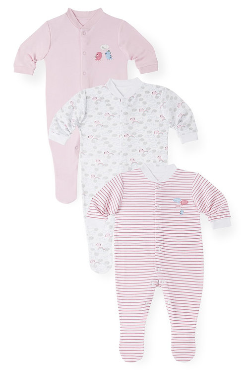 Early Days - 3 pack pink sleepsuit
