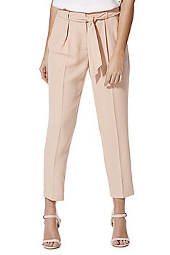F&F Tie Waist Tapered Trousers - Blush Pink