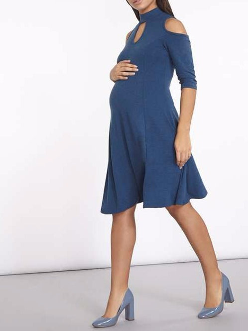 Maternity Cobalt Soft Touch Choker Cold Shoulder Dress by Dorothy Perkins