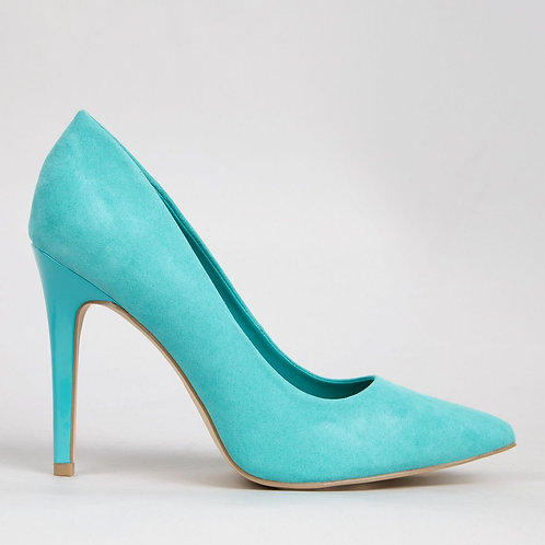 Wide Fit Green Suedette Pointed Court Shoes by New Look
