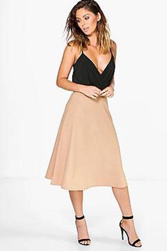 Metallic Crepe Full Midi Skirt