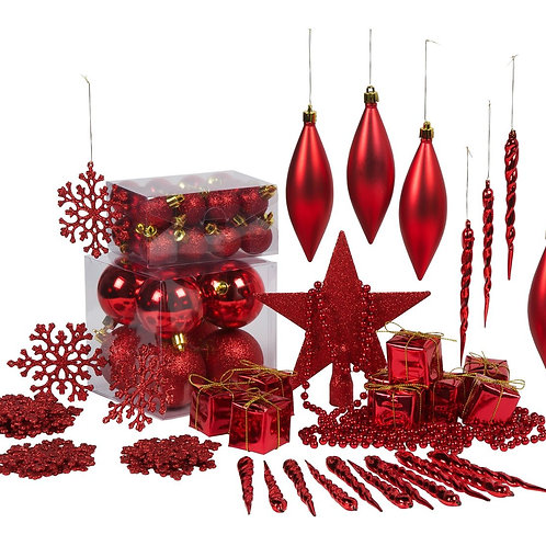 Pack of 75 Red Christmas Tree Decorations