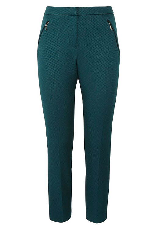 Teal Honeycomb Textured Slim Leg Trousers by F&F