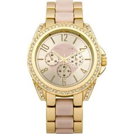 Identity Ladies Gold Tone with Pink Inlay Bracelet
