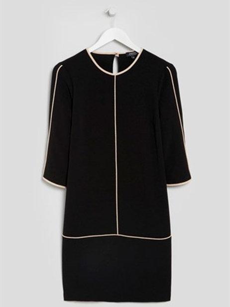Black Textured Crepe Dress