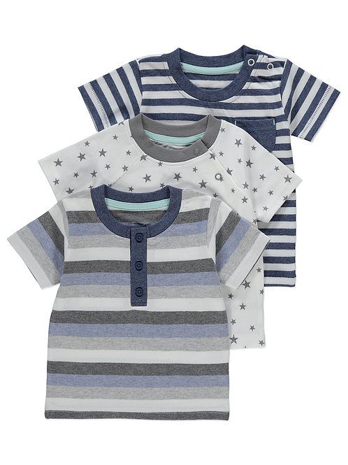 George -3 pack assorted tshirts (0-6 mths)