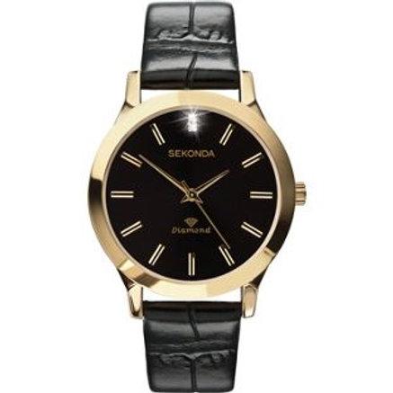 Sekonda Men's Diamond Black Strap Watch.