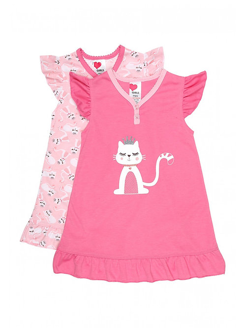 Peacocks - Hot Pink Girls' 2pk Cat Nightdresses