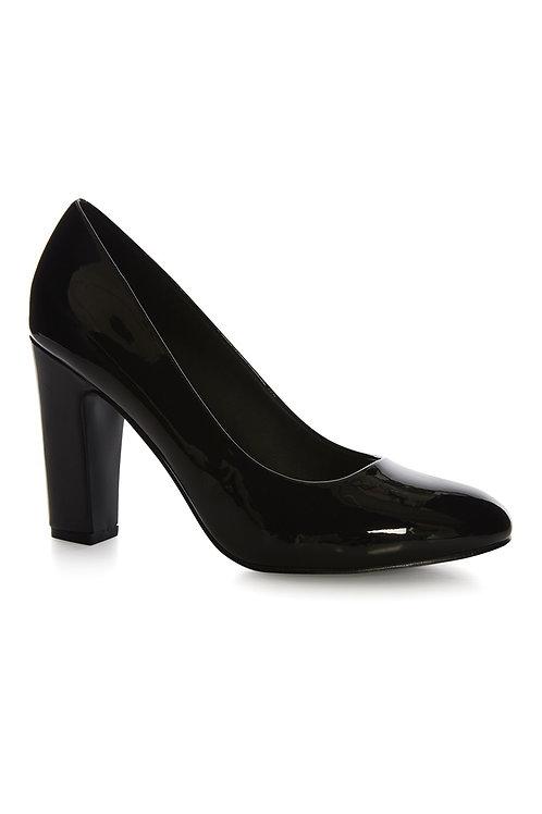 Atmosphere - Black Patent Wide Fit Block Heel