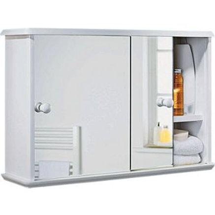 Sliding Door Bathroom Cabinet - White