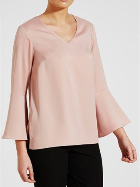 Fluted Sleeve Blouse - Pastel Pink