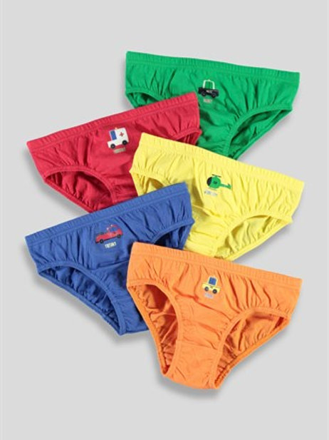 Multi-coloured Boys 5 Pack Transport Briefs