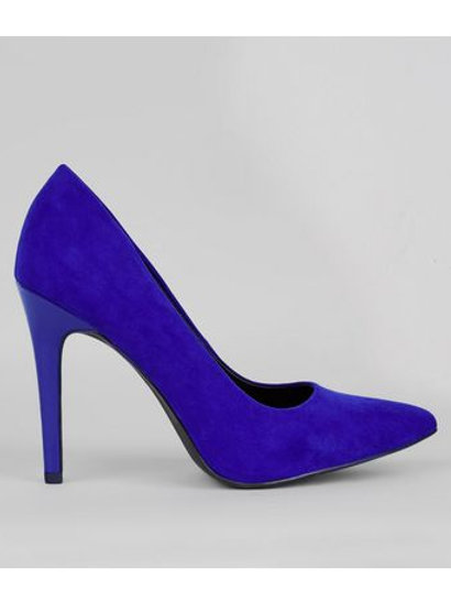 Wide Fit Navy Suedette Pointed Court Shoes by New Look