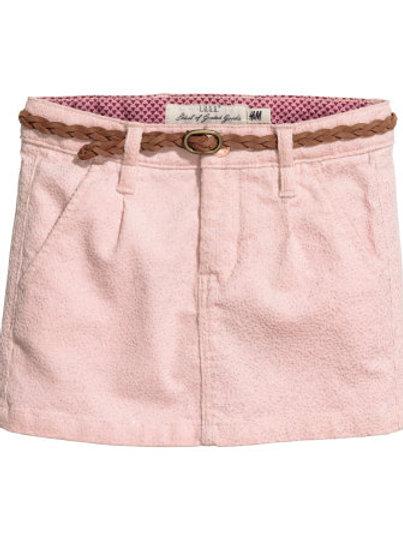 H&M - Pink Cotton skirt with a belt (2-10yrs)
