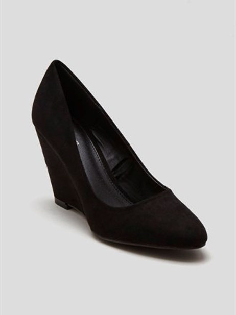 Black Almond Toe Wedges by Matalan
