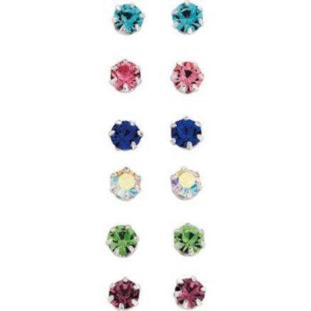 Sterling Silver Crystal Stud Earrings - Set of 6