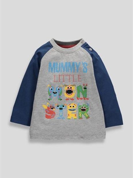 Grey Boys Mummy's Little Monster Top from Matalan
