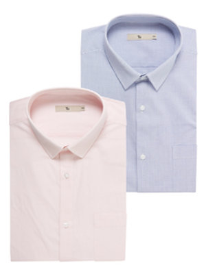Pink Easy Iron Shirts 2 Pack