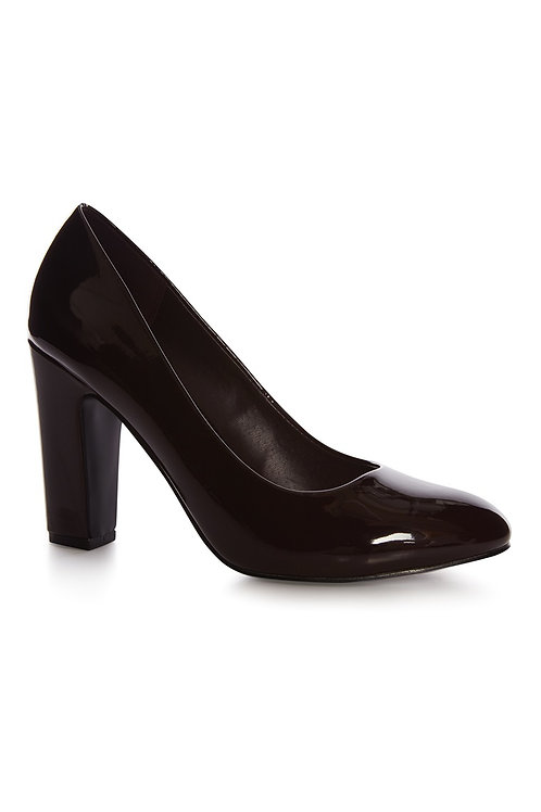 Atmosphere - Burgundy Patent Wide Fit Block Heel