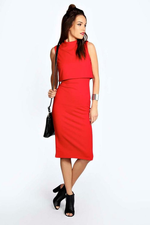 High Neck Double Layer Midi Dress - Red