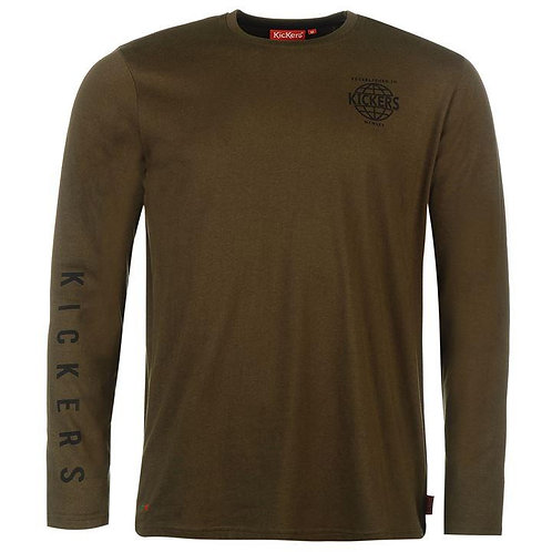 Kickers Long Sleeve Print Tee Mens - Khaki