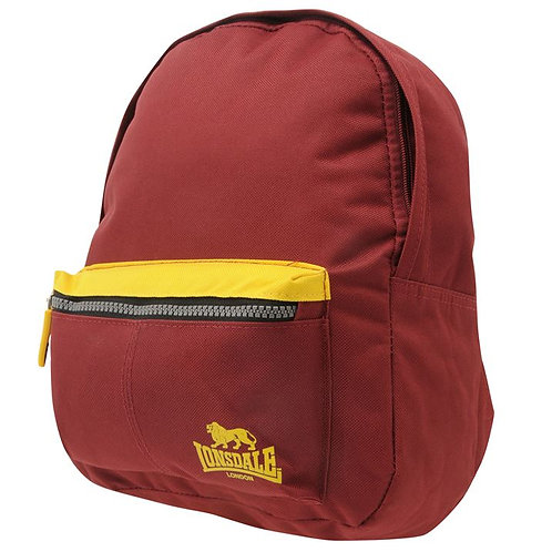 Lonsdale Mini Backpack in Maroon / Orange