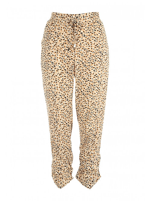 Women's Cream  Printed Cheesecloth Trousers