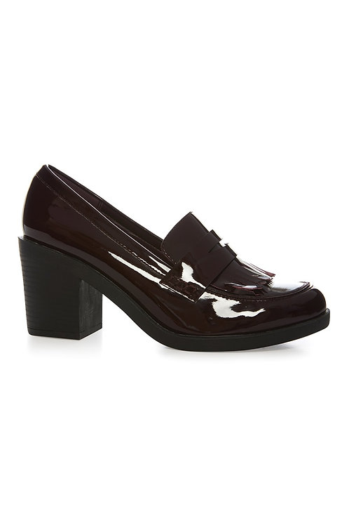 Atmosphere - Burgundy Patent Mid Heel Loafer