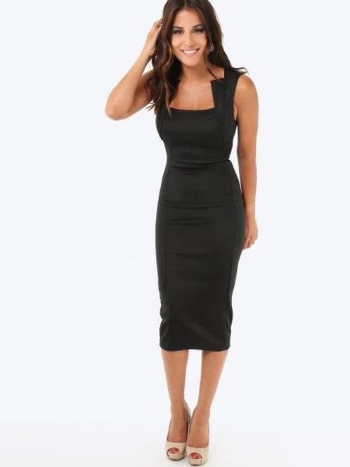 Krisp BASICS Square Neck Bodycon Midi Dress - Black