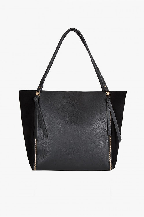 Black FAUX SUEDE SIDE ZIP SHOULDER BAG