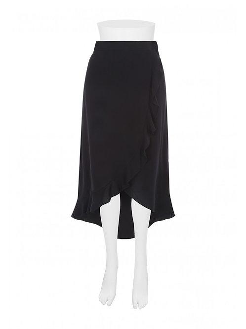 Womens Red Ruffle Midi Skirt by Peacocks - Black