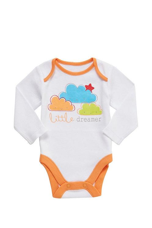 White/Orange F&F Little Dreamer Bodysuit
