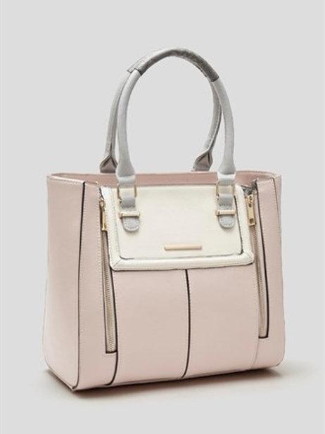 Colourblock Tote Bag - Pastel Pink