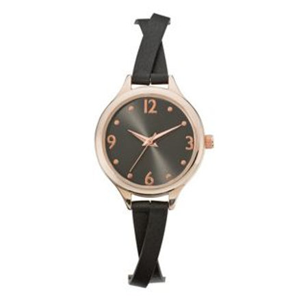 Spirit Ladies' Black Dial Crossover Strap Watch