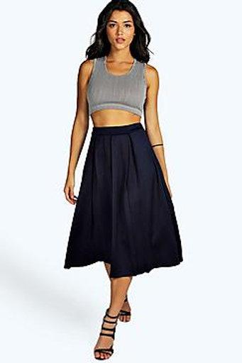 Box Pleat Midi Skirt - Navy