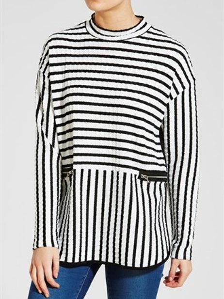 High Neck Stripe Tunic
