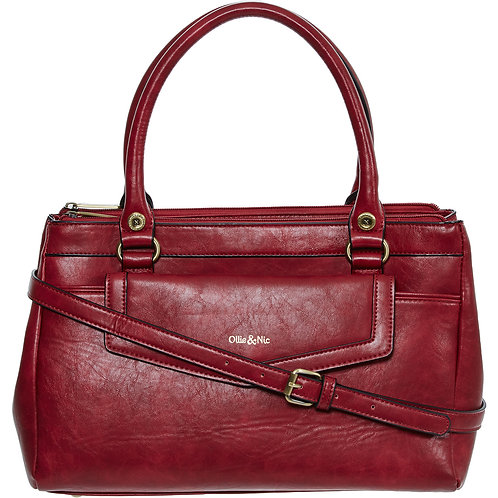 OLLIE & NIC Red Twin Handle Handbag