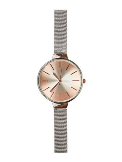 Silver Mesh Skinny Strap Watch