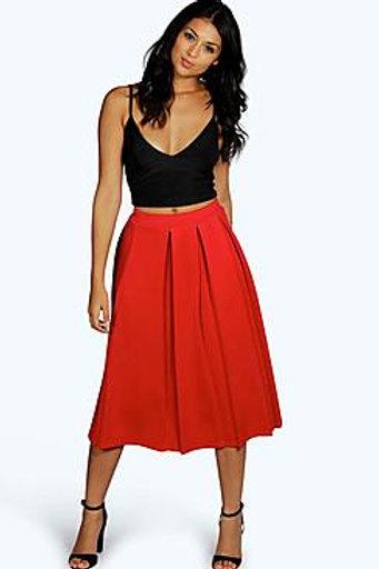 Box Pleat Midi Skirt - Red