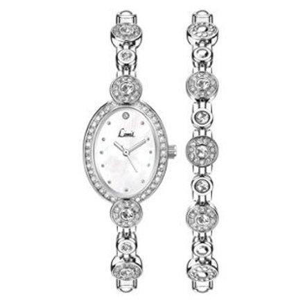 Limit Ladies' Oval Stone Set Watch and Bracelet Set.
