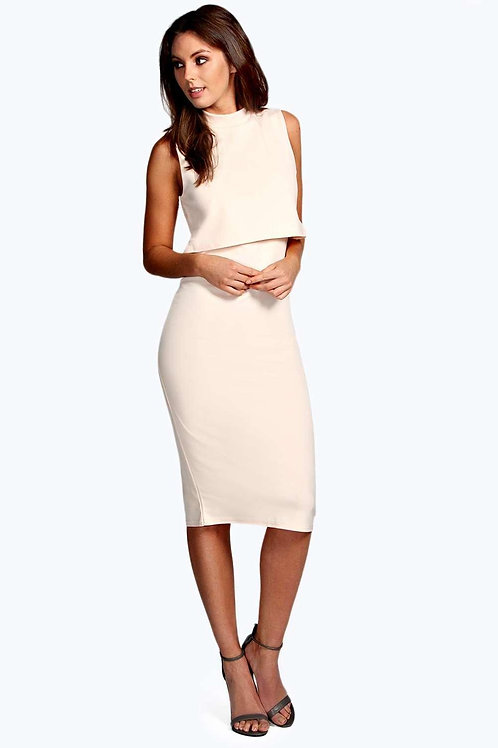 High Neck Double Layer Midi Dress - Nude