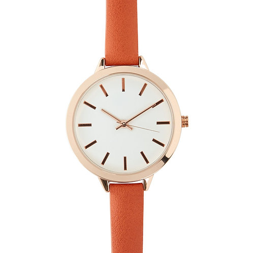 Orange Skinny Strap Watch