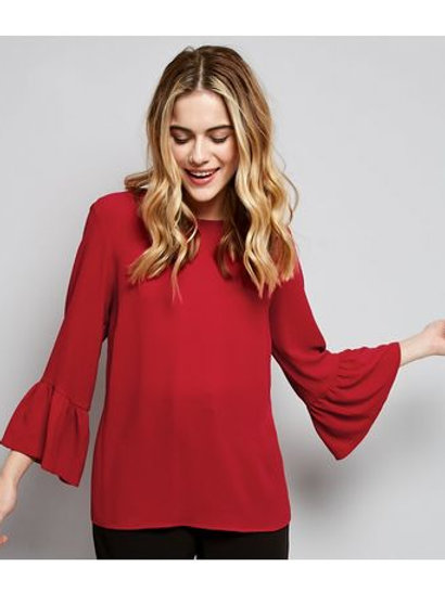 Red Cross Strap Bell Sleeve Top by New Look