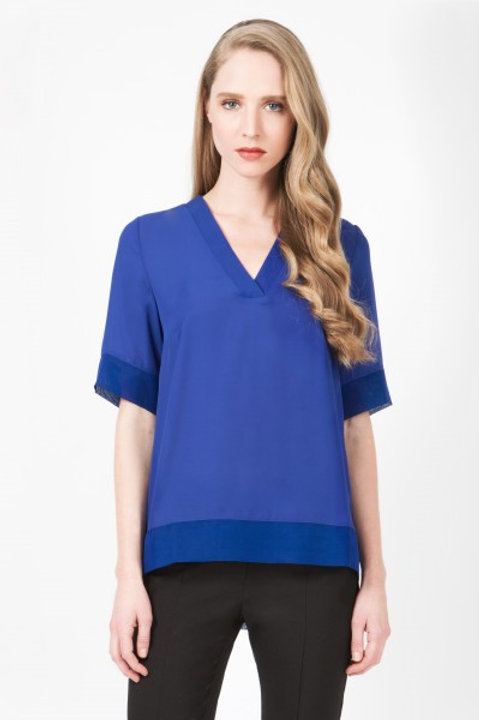 V-Neck Step Hem Top - Cobalt