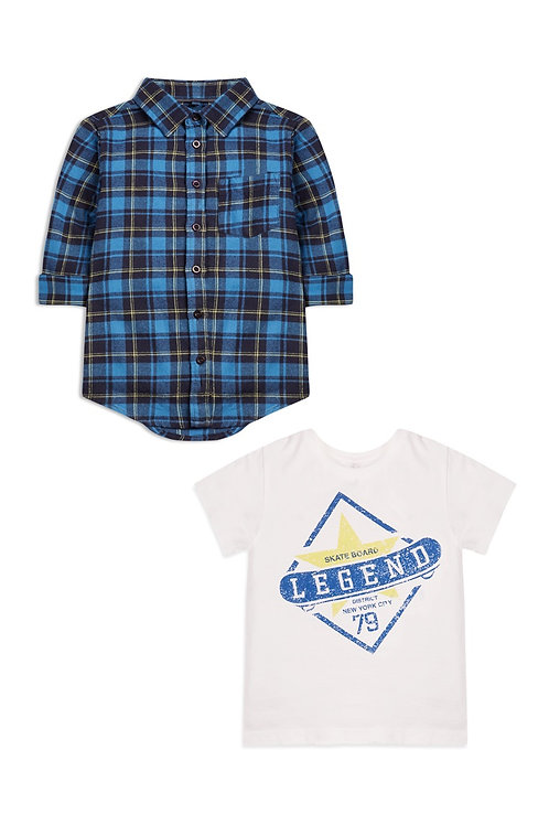 Younger Boy Check Shirt and T-Shirt