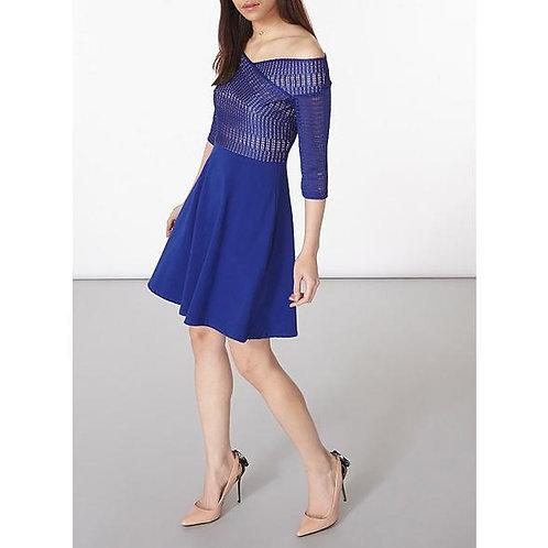 Dorothy Perkins Cobalt lace bardot dress