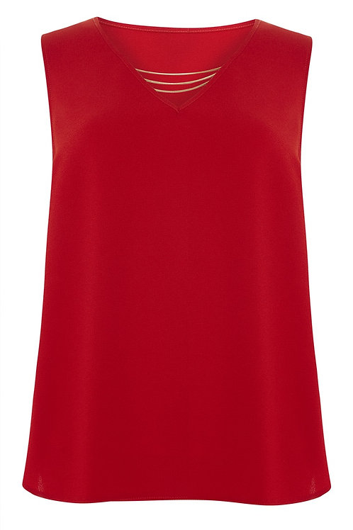 Red Shell Top Chain Neck Top by Atmosphere
