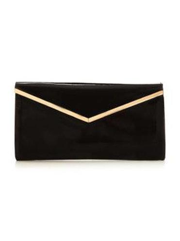 V by Very Patent V Bar Clutch Bag